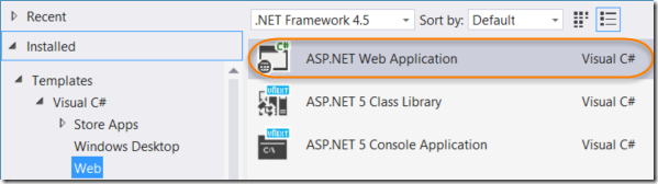 Creating ASP.NET 5 Project 2