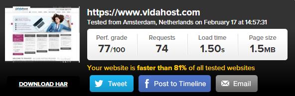 VidaHost Speed Test